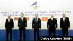 ARMENIA -- The prime ministers of Armenia, Belarus, Kazakhstan and Russia pose for a photo the start of a regular session of the Eurasian Intergovernmental Council, Yerevan, October 9, 2020.