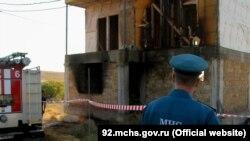 Пожар в недостроенном доме на территории садоводческого товарищества «Берег», Севастополь