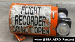 A view of the flight recorder from the Iranian missile-downed Ukraine International Airlines (UIA) Flight PS752 Boeing 737 jet, as work begins at the BEA investigation bureau in Le Bourget, July 20, 2020