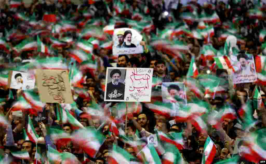 هواداران ابراهیم رئیسی در مصلای تهران
