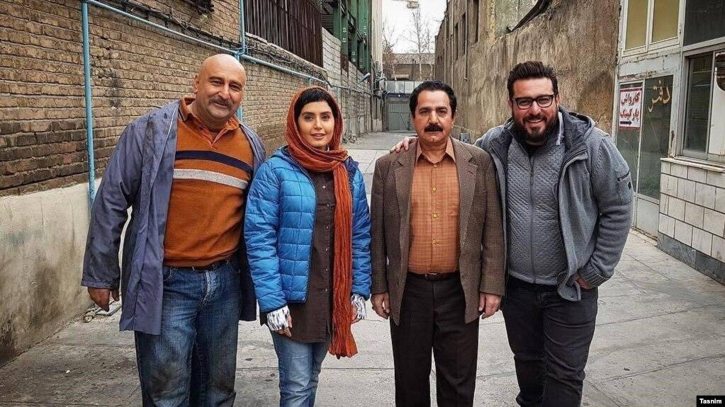 از راست: محسن کیایی، پرویز پرستویی، الناز شاکردوست و مهران احمدی؛ بازیگران اصلی فیلم «مطرب»