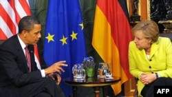 U.S. President Barack Obama and German Chancellor Angela Merkel in Dresden on June 5