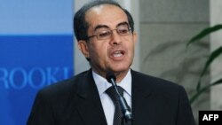 Mahmud Jibril, interim prime minister of the Libyan Transitional National Council, speaks at the Brookings Institution in Washington.
