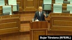 Kryeministri i Kosovës, Ramush Haradinaj gjatë një paraqitje në Kuvend