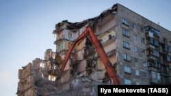 The site of the explosion on December 31 in Magnitogorsk, blamed on a natural-gas leak. Thirty-nine people were killed.