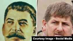 Stalin and Kadyrov. collage
