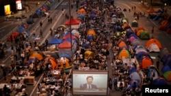 Nga protestat në Hong Kong më 21 tetor.