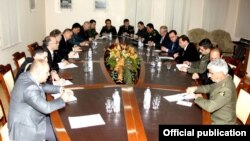 Armenia - First Deputy Defense Minister Davit Tonoyan meets with foreign diplomats and military attaches, Yerevan, 25Nov2014.