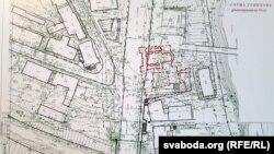 Касьцёл сьвятога Антонія ў пляне забудовы Віцебска на гістарычным месцы