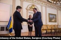 Američki ambasador Erik Nelson i predsjedavajući Predsjedništva BiH, Milorad Dodik