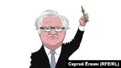 Політична карикатура Сергія Йолкіна щодо голосування 29 липня 2015 року на засіданні Ради безпеки ООН представника Росії Віталія Чуркіна. Одним голосом «проти» Чуркіна було заблоковано резолюцію щодо створення міжнародного трибуналу стосовно «Боїнга», який був збитий на Донбасі