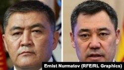На составном фото – председатель государственного комитета национальной безопасности (ГКНБ) Камчыбек Ташиев и премьер-министр Кыргызстана Садыр Жапаров (cправа).