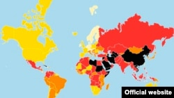 Map of press freedom index by Reporters Without Borders