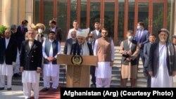 اشرف غنی رئیس جمهوری افغانستان حین سخنرانی به مناسبت عید سعید فطر در ارگ ریاست جمهوری