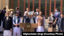 Afghan President Ashraf Ghani speaking on the occasion of Eid at the Presidential Palace on May 24.