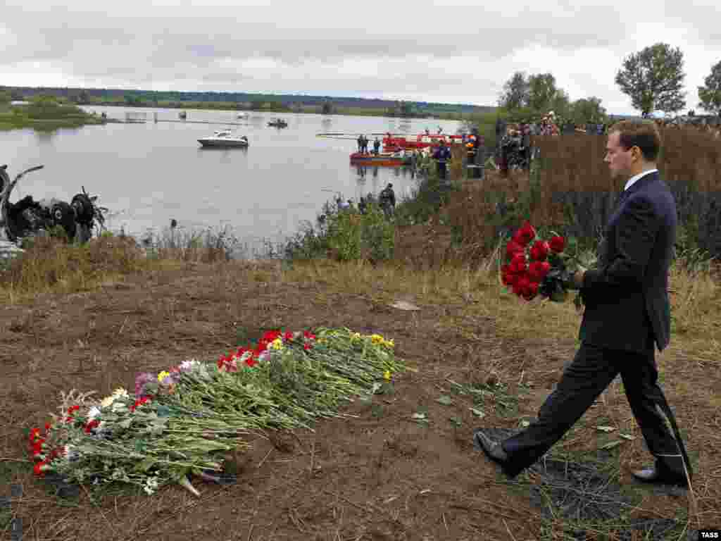 Then-Russian President Dmitry Medvedev made a personal visit to the crash site.