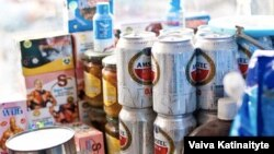 Nonalcoholic beer for sale at Kabul's Bush Bazaar, where it has spiked in popularity, especially among young men and taxi drivers, according to vendors.