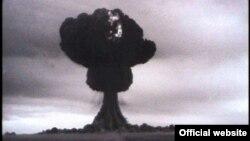 СССР ядролық қаруды сынақтан өткізген алғашқы жарылыс. Семей полигоны, 29 тамыз 1949 жыл. (Сурет poligon.kz сайтынан алынды).