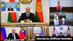 Еуразия экономикалық одағына мүше елдердің президенттері видеоконференция арқылы өткен жиында. 19 мамыр 2020 жыл.