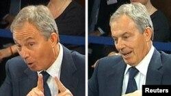 Бұрынғы Ұлыбритания премьер-министрі Тони Блэр Ирактағы соғыс туралы айтып тұр. Лондон, 21 қаңтар 2011 жыл