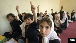 Students attend class at an internationally funded school in Faizabad, Afghanistan