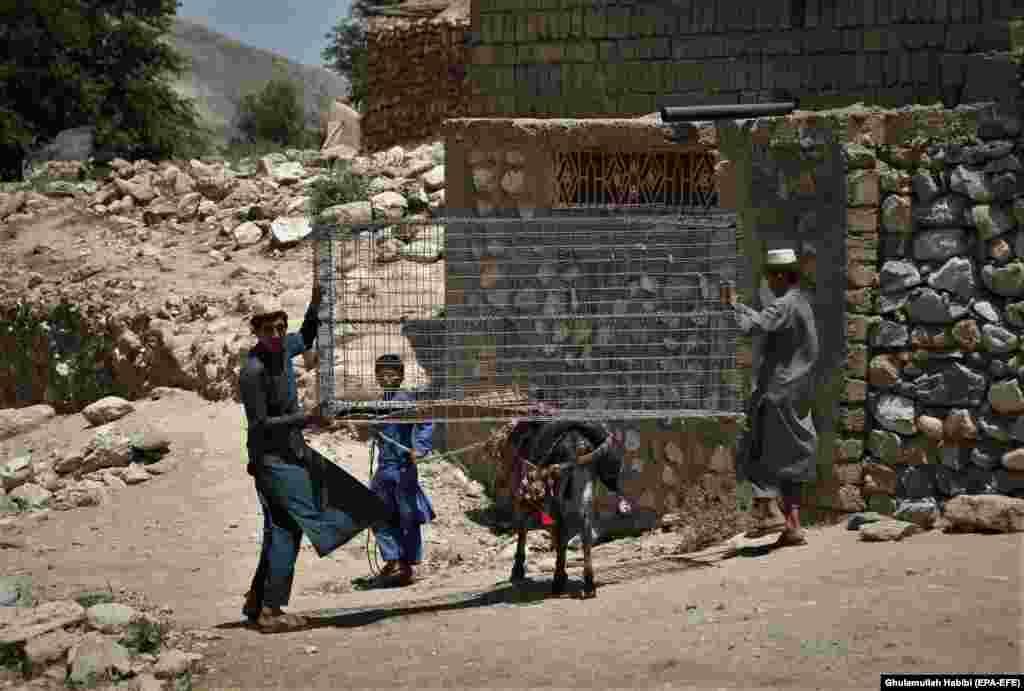 Афганцы возвращаются в свою деревню, чтобы восстановить разрушенное имущество после того, как 31 мая силы безопасности очистили территорию от боевиков Талибана в районе Ачин провинции Нангархар