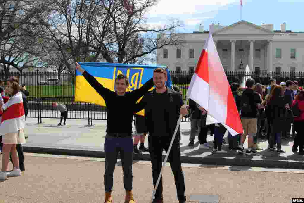 USA - the protest supporting Belarus opposition in Washington DC near the White House