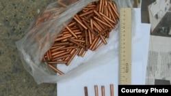 Изъятые в Нарыне боеприпасы