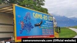 Фургон британської компанії CAME-RO з картою Європи, на якій Україна зображена без Криму