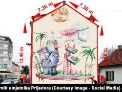 """""""Marine dream"""", jedan od prijedloga pristiglih na konkurs za najbolji mural u Prijedoru"""