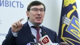 Ukrainian Prosecutor-General Yuriy Lutsenko speaks at a press conference in Kyiv on March 7.