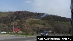 Көктөбе маңындағы өрт. Алматы, 13 сәуір 2015 жыл. жыл.