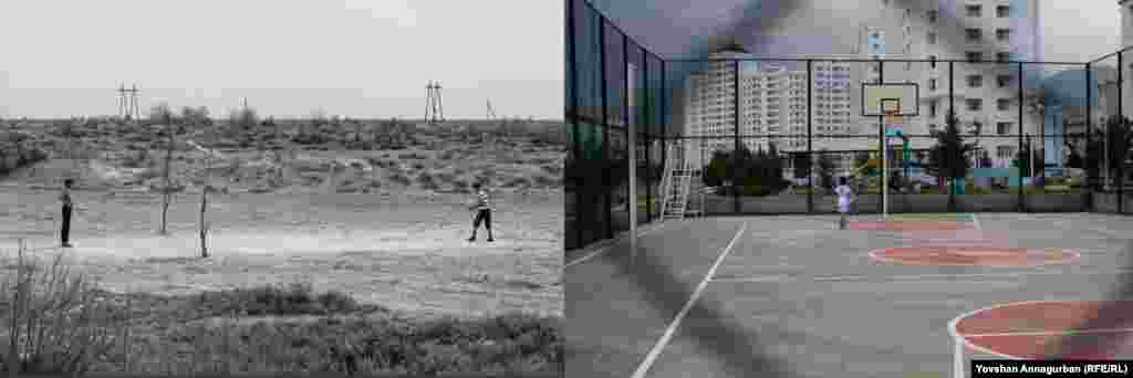 Ashgabat has seen rapid development, with the construction of new residential buildings and exclusive neighborhoods. The provinces have not been so lucky. At right, a newly built playground in the Turkmen capital stands in striking contrast to a volleyball field in Annagurban's home village, Dostluk, 40 years ago.