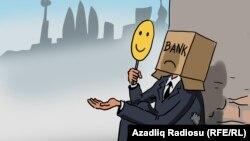 """""""Bank böhranı"""". Karikatura. Gündüz Ağayev."""