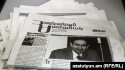 "Armenia -- The February 5 edition of the ""Haykakan Zhamanak"" newspaper featuring a front-page picture of its jailed editor Nikol Pashinian , 07Feb2011"
