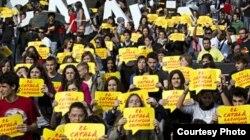 Дэманстрацыя за статус каталянскай мовы ў будучай незалежнай Каталёніі