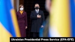 Președinta Maia Sandu primită la Kiev de omologul ucrainean, Volodimir Zelenski, Kiev, 12 ianuarie 2021.