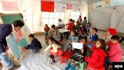 Sirijska deca u školi, Liban, 2015.