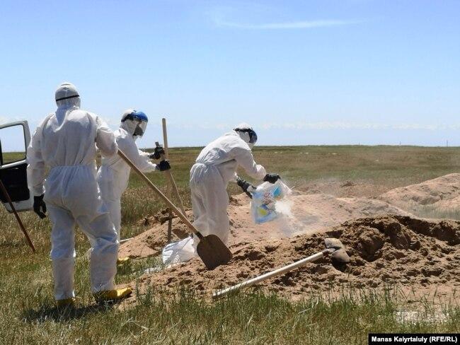 На могиле умершего от коронавируса распыляют хлор. Алматинская область, 25 мая 2020 года.