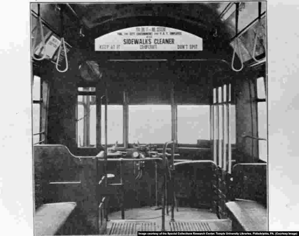 В общественном транспорте Филадельфии тоже рекомендовали не плевать на пол.