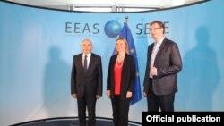 Federika Mogerini sa premijerima Kosova i Srbije - Isom Mustafom i Aleksandrom Vučićem