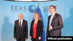 Isa Mustafa, Federica Mogherini i Aleksandar Vučić na prethodnoj rundi dijaloga Beograda i Prištine