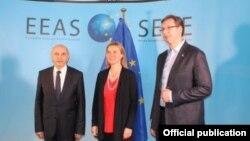 Isa Mustafa, Federika Mogerini i Aleksandar VUčić na jednom od prethodnih sastanaka u Briselu
