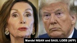 Nümayəndələr Palatasının spikeri Nancy Pelosi (solda) və prezident Donald Trump