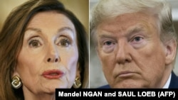 Nancy Pelosi (solda) və Donald Trump