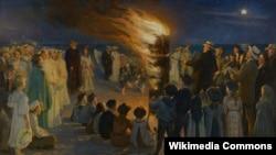 """Пэдэр Сэвэрын Крэер, """"Купальскае вогнішча на пляжы ў Скагене"""" (1906)"""