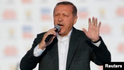 Turkey -- Prime Minister Tayyip Erdogan addresses his supporters during an election in Istanbul, March 23, 2014