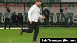Chechen leader Ramzan Kadyrov takes part in an exhibition soccer match in Grozny in October.