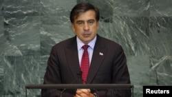 Միխեիլ Սահակաշվիլին ելույթ է ունենում ՄԱԿ-ի Գլխավոր ասամբլեայի նստաշրջանում, Նյու Յորք, 23-ը սեպտեմբերի, 2010թ.
