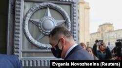 Չեխիայի դեսպանը ժամանում է Ռուսաստանի ԱԳՆ կենտրոնական գրասենյակ, Մոսկվա, Ռուսաստան, 22 ապրիլի, 2021թ.